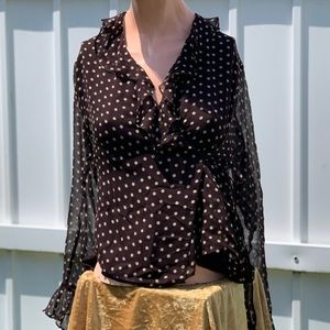 Willi Smith Brown Polka Dot Side Tie Wrap-Top 14